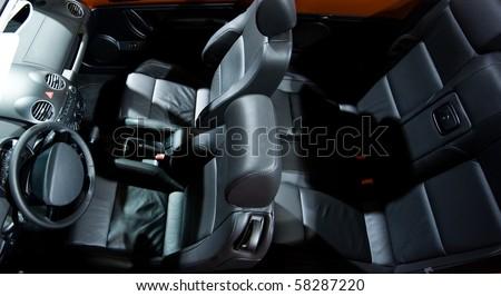 Modern interior of a cabriolet car. - stock photo