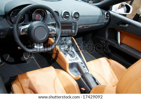 Modern interior of a new car with many details. - stock photo