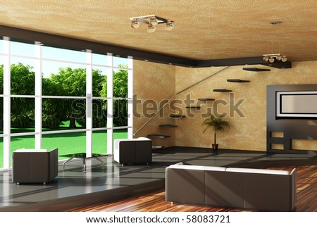 Modern interior of a room. - stock photo