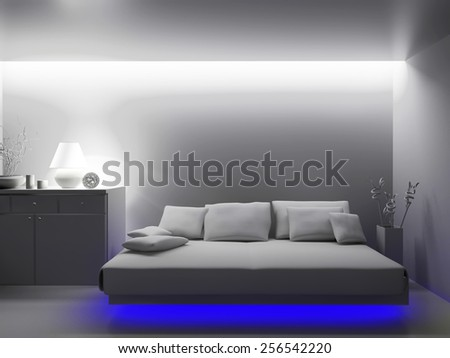 Modern interior of a room 3d rendering