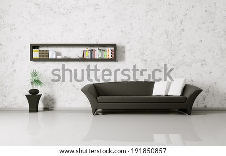 Modern interior of a room with sofa and bookshelf