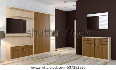 Modern interior of a small apartment. hallway. 3D rendering