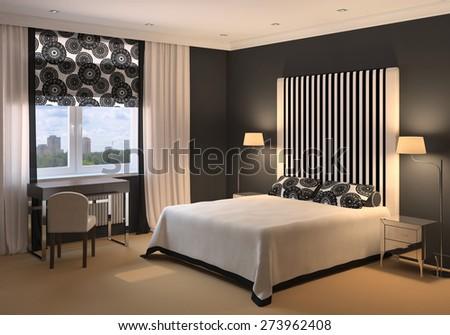 Modern interior of bedroom. 3D render. Exclusive design. - stock photo