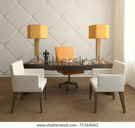 Modern interior of home office.3d render.