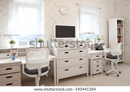 Modern interior of kid's room in sunlight  - stock photo