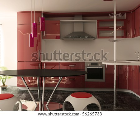Modern interior of kitchen - stock photo