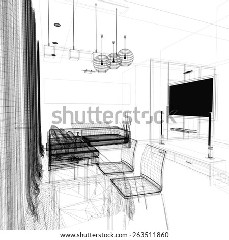 modern interior of living room (3d rendering