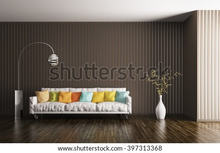 Modern interior of living room, sofa, cushions, floor lamp, plant, 3d rendering