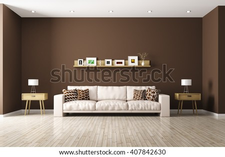 Modern interior of living room with beige sofa, shelf, side tables 3d rendering - stock photo