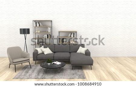 Modern Interior Of Living Room With Dark Grey Sofa Beige Armchairwooden Floor