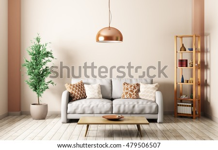 Modern Interior Of Living Room With Gray Sofa, Lamp,shelf,coffee Table 3d