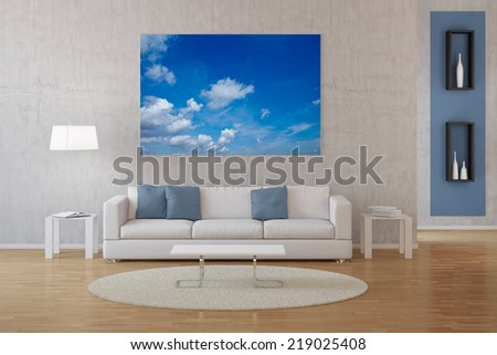 Modern interior of living room with photo of sky with clouds on canvas - stock photo