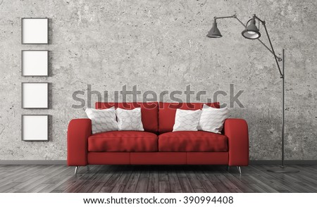 Modern Interior Of Living Room With Red Sofa, Floor Lamp Against Of  Concrete Wall 3d Part 88