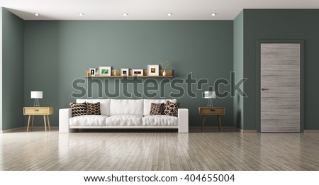 Modern interior of living room with white sofa, shelf, side tables ,door 3d rendering - stock photo