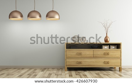 Modern Interior Of Living Room With Wooden Dresser And Lamps 3d Rendering