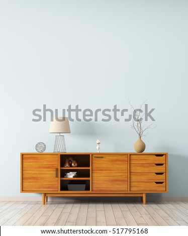 Modern Interior Of Living Room With Wooden Dresser 3d Rendering