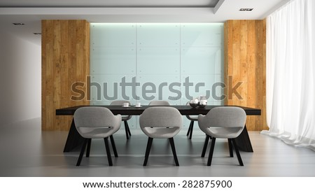 Modern interior of meeting room 3D rendering  - stock photo