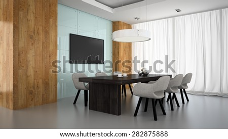 Modern interior of meeting room with wooden wall 3D rendering  - stock photo