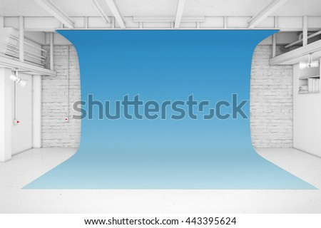 Modern Interior of Photo Studio with blue background 3D illustration