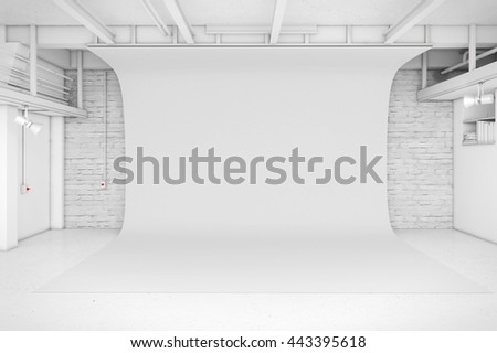 Modern Interior of Photo Studio with white background 3D illustration