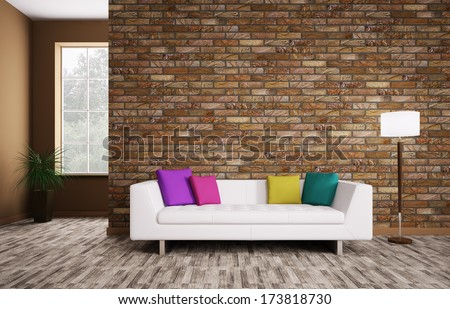 Modern interior of room with white sofa 3d render - stock photo