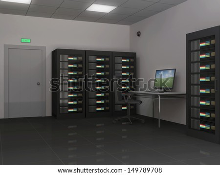 Modern Interior of Server Room - stock photo