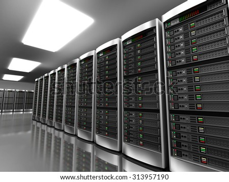 Modern interior of server room in datacenter - stock photo