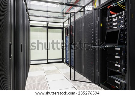 Modern interior of server room, Super Computer, Data center.