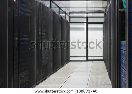 Modern interior of server room, Super Computer, Server Room, Datacenter, Data Security Center. - stock photo