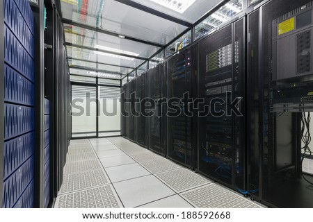 Modern interior of server room, Super Computer, Server Room, Datacenter, Data Security Center.