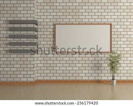 Modern interior of the house with a picture in a frame, potted plants and a white brick wall. 3D - stock photo
