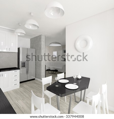 Modern interior of the kitchen 3D illustration