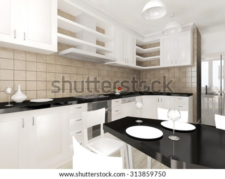 Modern interior of the kitchen 3D visualization