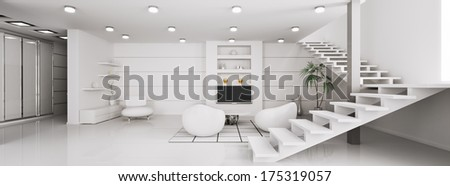 Modern interior of white apartment panorama 3d render