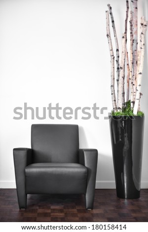 Modern Interior Room and white wall with space for your text - stock photo