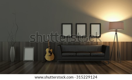 modern interior room 3D with nice furniture inside - stock photo