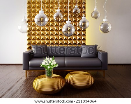 modern interior room with a beautiful furniture - stock photo