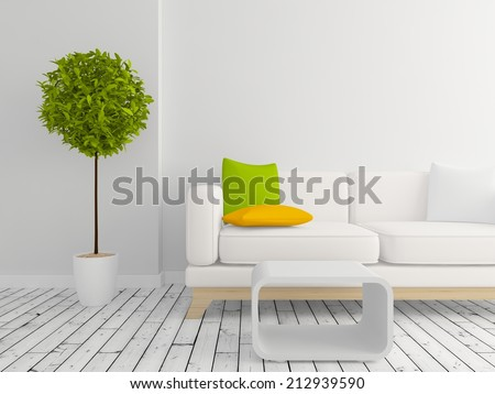 modern interior room with a white furniture - stock photo