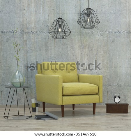 modern interior room with books, clock, lamps and yellow sofa, 3D render - stock photo