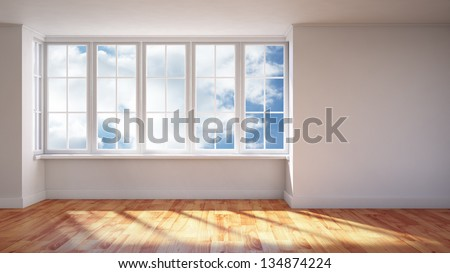 Modern interior- sunlit empty room - stock photo