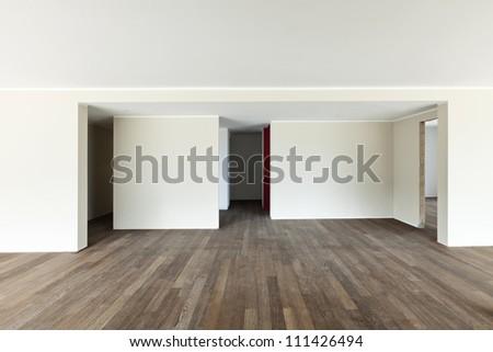 modern interior, wide empty apartment, wall white - stock photo