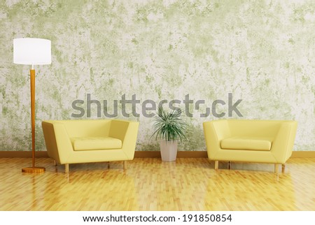 Modern interior with armchairs and floor lamp 3d render - stock photo