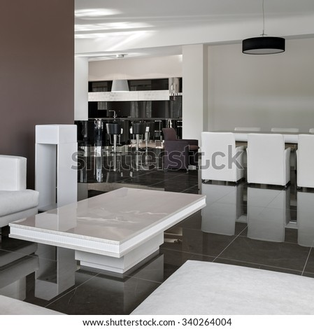 Modern interior with big table, chairs and living room in daylight - stock photo