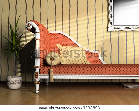 modern interior with classic sofa (3d rendering image) - stock photo