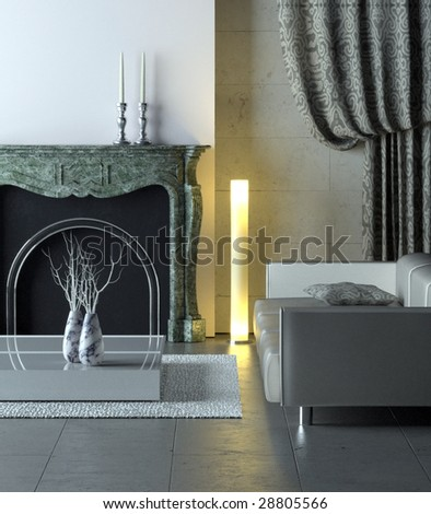Modern interior with classical marble fireplace (3D render)