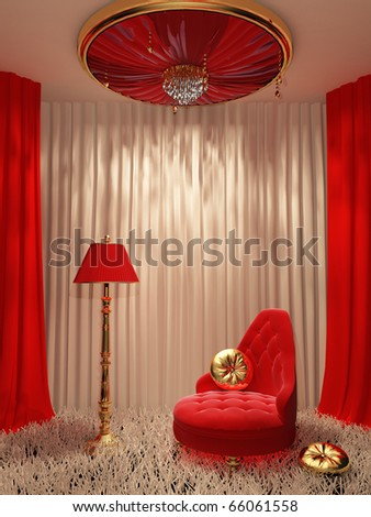 Modern interior with decorative shutter ceiling - stock photo