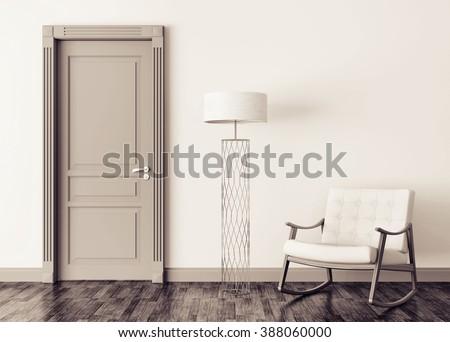 Modern interior with door, floor lamp and rocking chair 3d render - stock photo