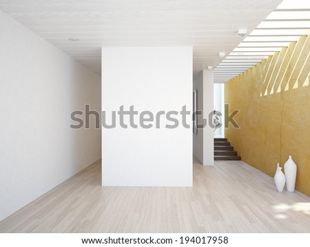 modern interior with empty wall. 3D concept - stock photo