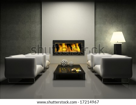 Modern interior with fireplace 3D rendering. - stock photo