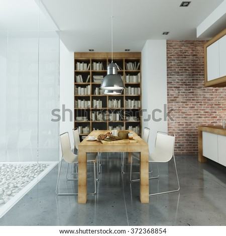 Modern interior with glass wall and open plan kitchen - stock photo
